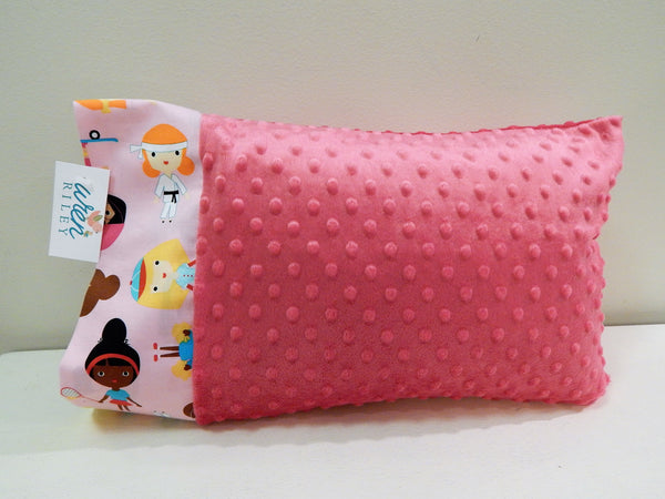"Varsity Girls Sports Kids Pink 12""x16"" Toddler Minky & Cotton Trim Pillowcase"