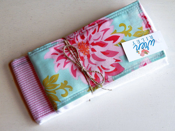 Dahlia Blue & Pink Floral Baby Burp Cloth 2 Piece Gift Set