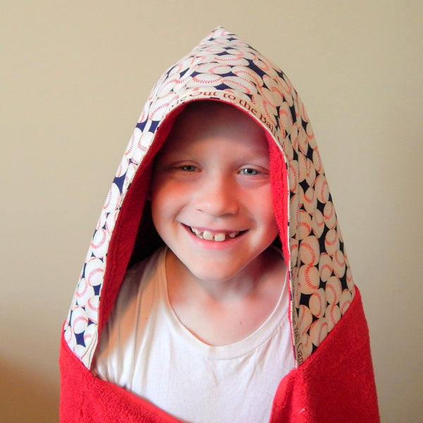 Big Kid-Take Me Out to the Ball Game Child's Hooded Towel Ages 6 and up for Bath, Beach, Or Pool