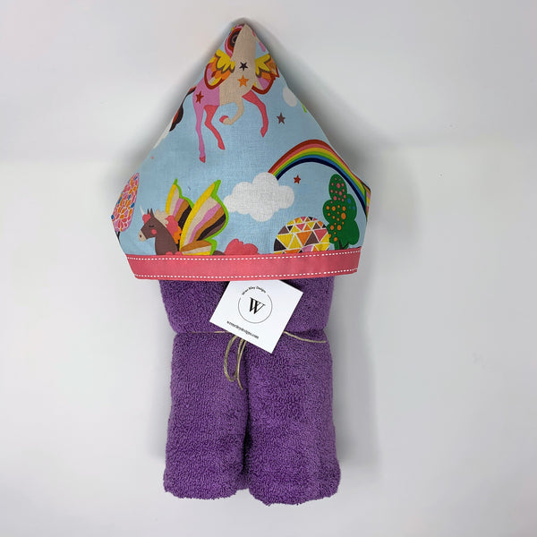 Unicorn Pegasus Girl's Hooded Towel for Bath, Beach, or Pool
