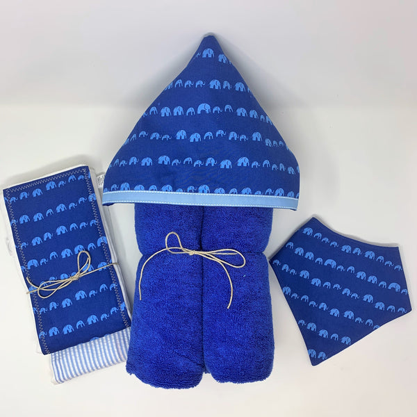 Elephant Parade Blue Child's Hooded Towel for Bath, Beach, or Pool