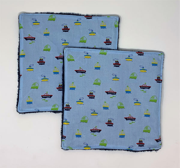 Tug Boats Washcloth Set of 2