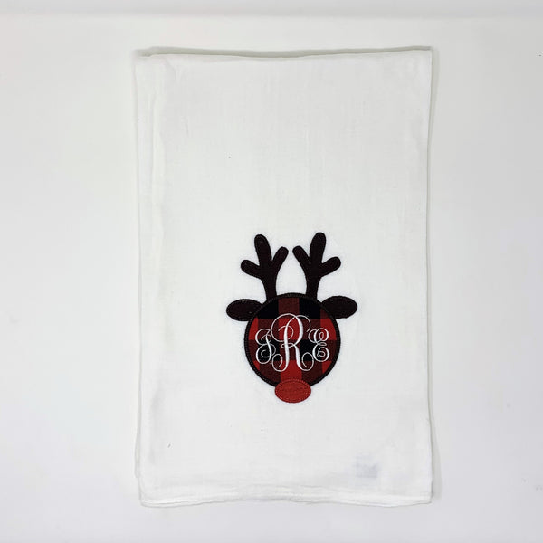 Christmas Reindeer Tea Towel 100% Cotton-Personalized Gift