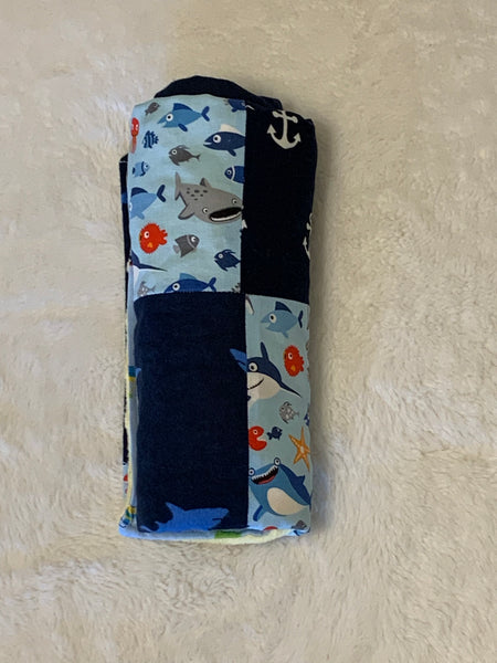 "Sea Life Nautical Minky Blanket 28""x28"" Stroller Blanket Nursery Décor"