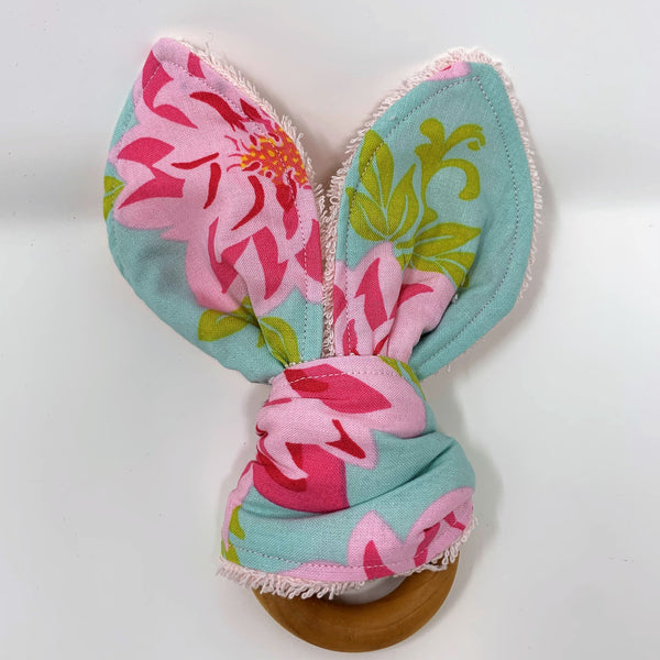 Dahlia Flowers Bunny Ear Wooden Teething Ring
