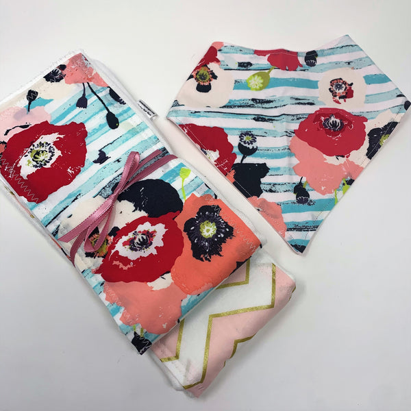 Perfect Poppies Pink Floral Baby Burp Cloth & Bib 3 Piece Gift Set