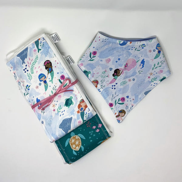 Mermaid & Narwhal Baby Burp Cloth & Bib 3 Piece Gift Set for New Moms