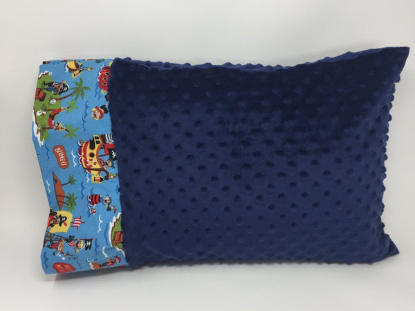 "Yo Ho Ho Pirate & Shark Blue 12""x16"" Toddler Minky & Cotton Trim Pillowcase"