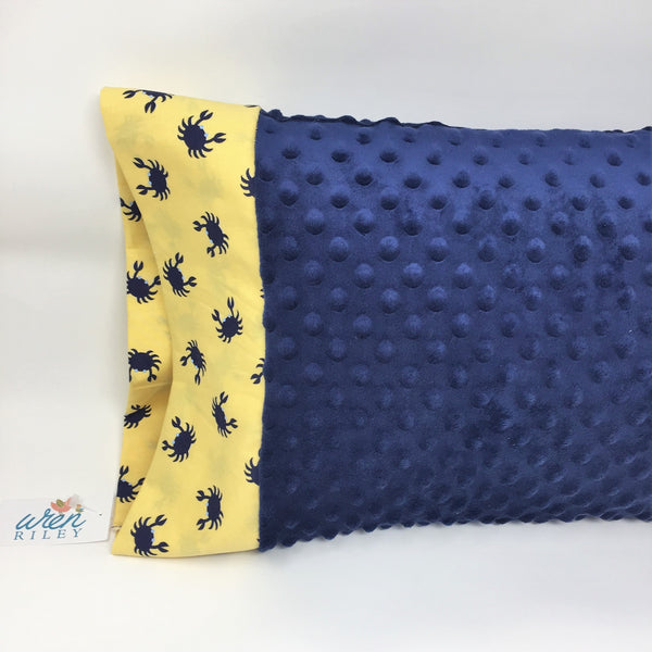 "Crab Blue 12""x16"" Toddler Minky & Cotton Trim Pillowcase"