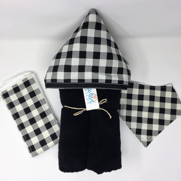 Buffalo Plaid White & Black Child's Hooded Towel for Bath, Beach, or Pool