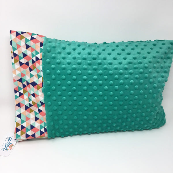 "Geometric Teal & Coral 12""x16"" Toddler Minky & Cotton Trim Pillowcase"