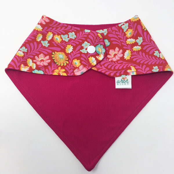 Spring Fever Pink Floral Baby Burp Cloth 2 Piece Gift Set