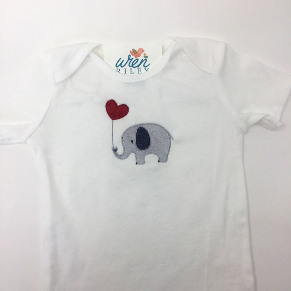 Elephant & Balloon Embroidered Bodysuit Boy's Clothing 24m