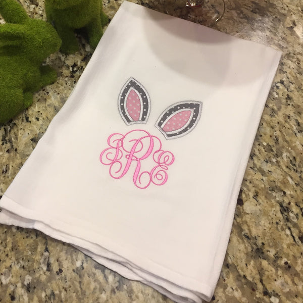 Bunny Ear Monogrammed Tea Towel 100% Cotton-Personalized Gift