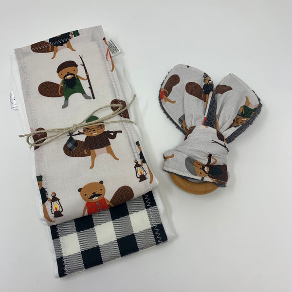 Beavers in Buffalo Plaid 3 Piece Burp Cloth & Teething Ring Set