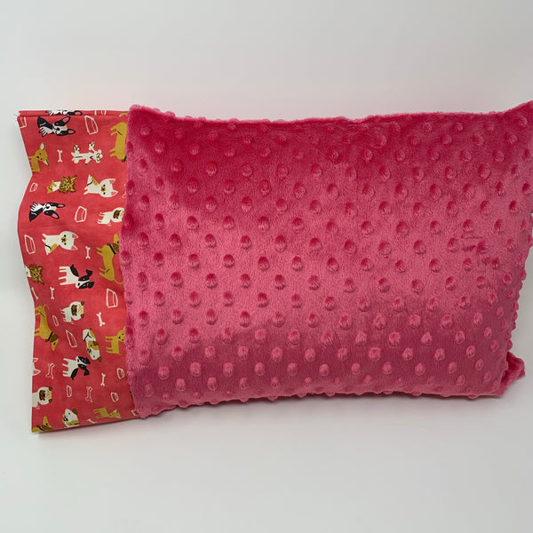 "Playful Pups Pink 12""x16"" Toddler Minky Pillowcase"
