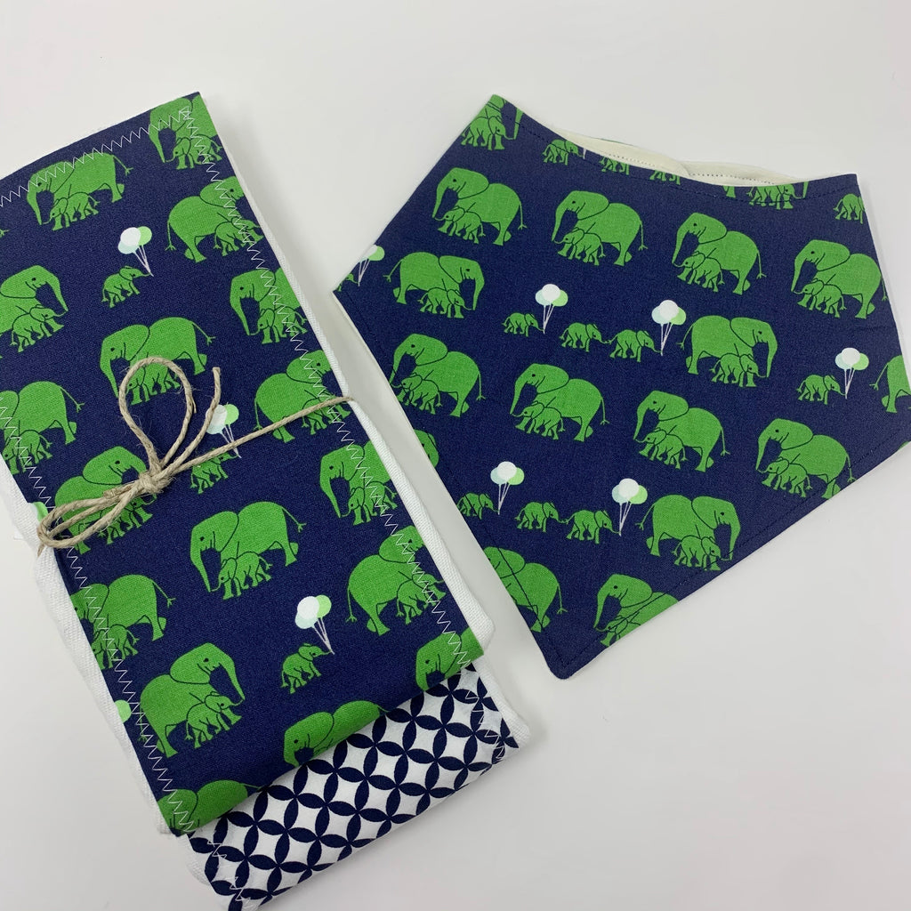 Elephant Party 3 Piece Gift Set-Burp Cloths & Bandana Bib