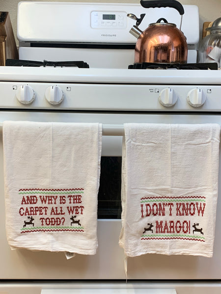 Christmas Todd and Margo Tea Towels 100% Cotton-Personalized Gift