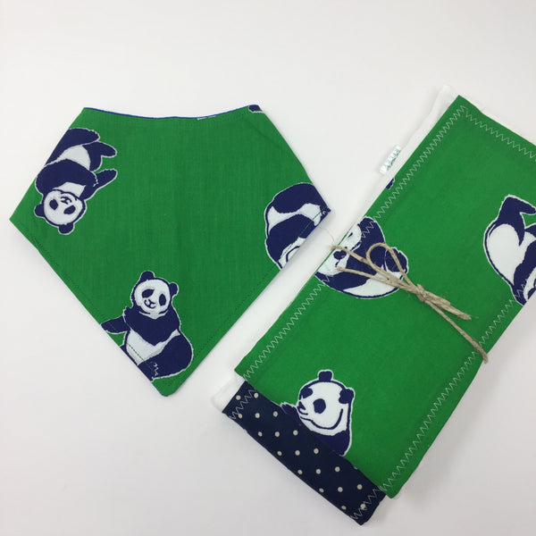 Panda Pals 3 Piece Gift Set-Burp Cloths & Bandana Bib