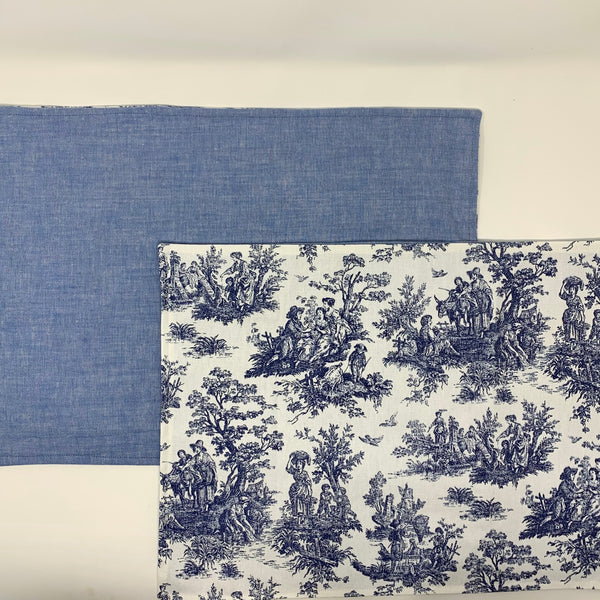 "Blue Toile Placemat 13"" x 18"" Table Linens Set of 2"