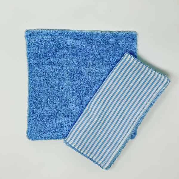 Seersucker Blue Washcloth Set of 2
