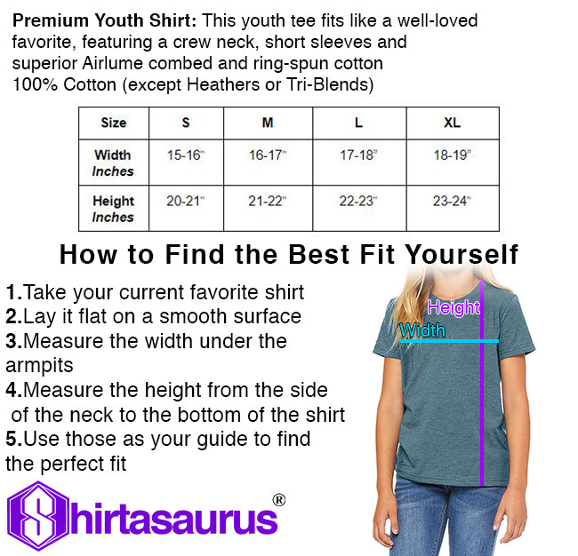 Shirtasaurus Youth Size Chart