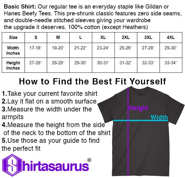 Shirtasaurus Basic Shirt Size Chart