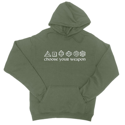 Choose Your Weapon Dice Pullover Hoodie-Hoodies-Shirtasaurus-S-Military Green-Shirtasaurus
