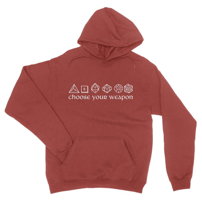 Choose Your Weapon Dice Pullover Hoodie-Hoodies-Shirtasaurus-S-Maroon-Shirtasaurus