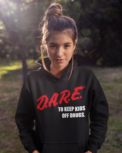 D.A.R.E. (Dare) 90's Vintage Logo Hoodie 80s or 90s clothing retro vibe. Instant classic. Dare Black Sweatshirt Unisex.-Hoodies-Shirtasaurus-Shirtasaurus