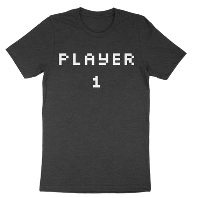 Pixel Player 1 and 2 Shirts-T-Shirts-Shirtasaurus-Premium-XS-PLayer 1 Heather Charcoal-Shirtasaurus