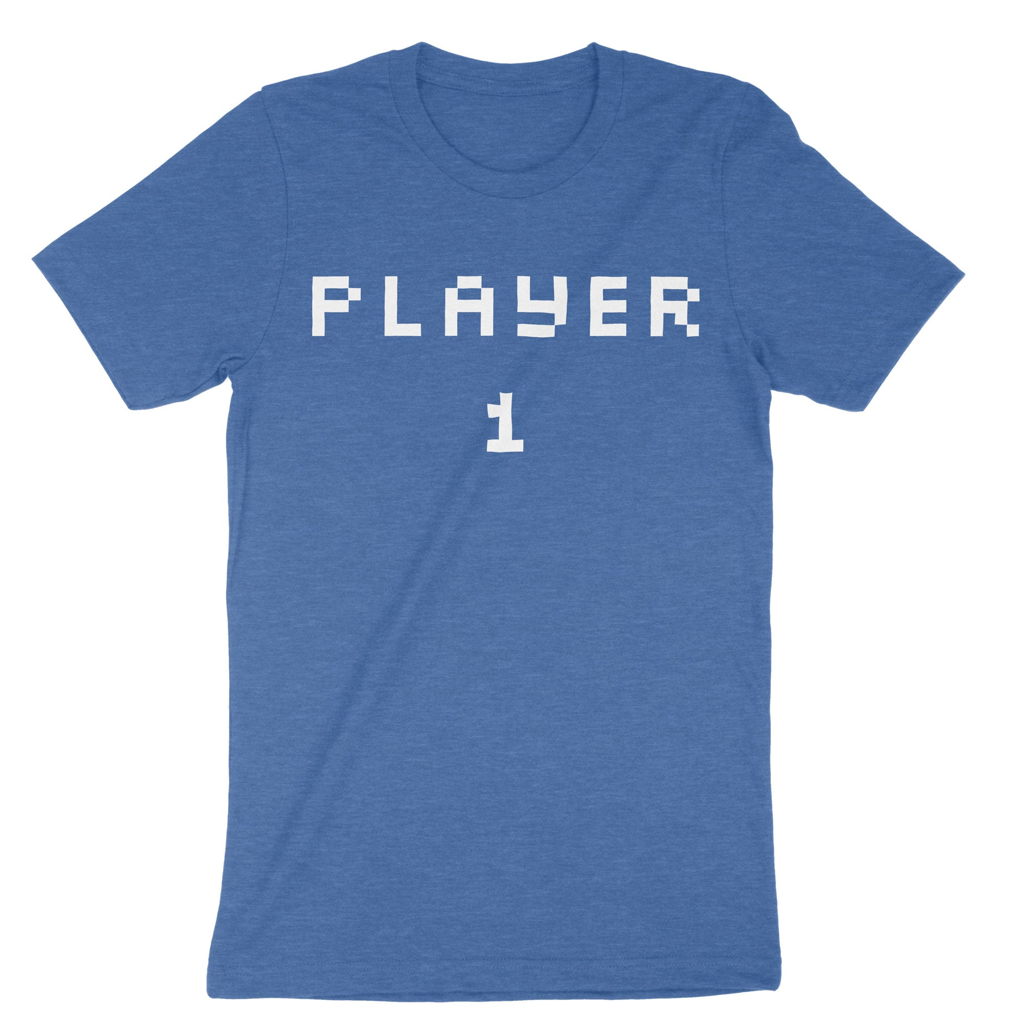 Pixel Player 1 and 2 Shirts-T-Shirts-Shirtasaurus-Premium-XS-Player 1 Heather Red-Shirtasaurus