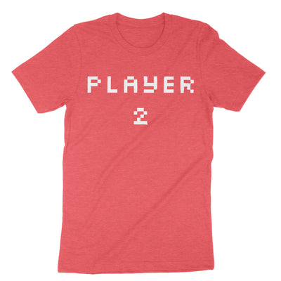Pixel Player 1 and 2 Shirts-T-Shirts-Shirtasaurus-Premium-XS-Player 2 Heather Red-Shirtasaurus