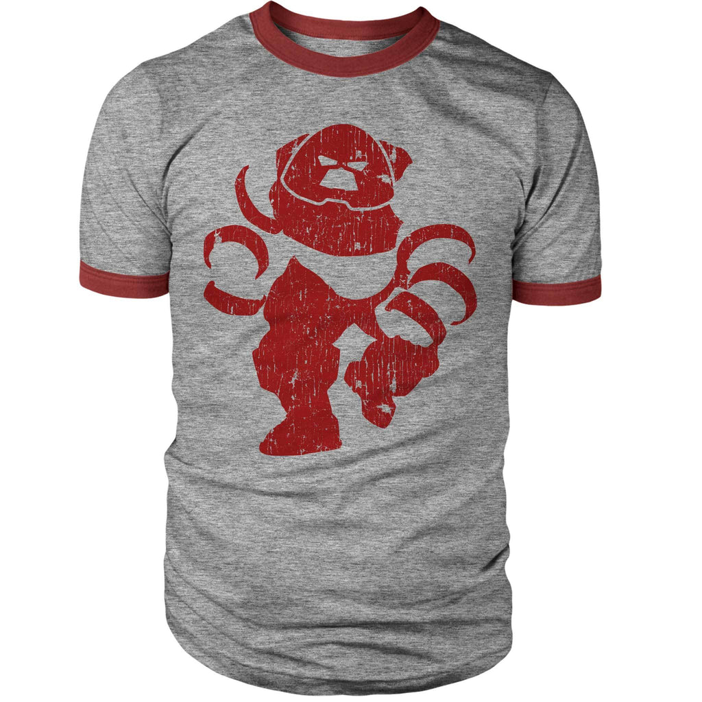 Big Crimson Vintage Ringer Shirt-Ringers-Shirtasaurus-S-Heather/Red-Shirtasaurus