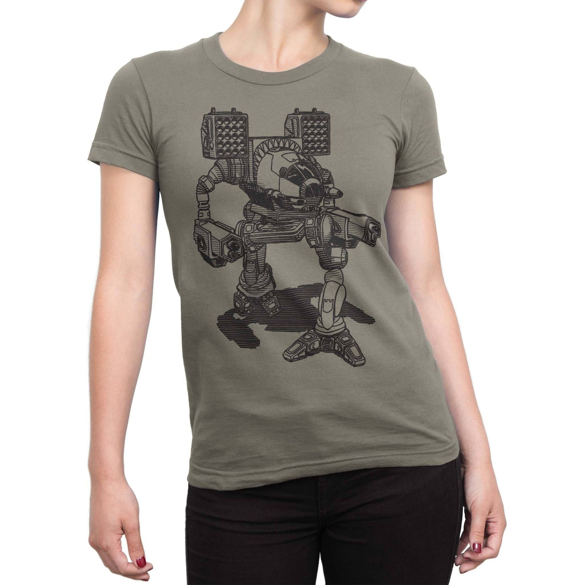 Battlemech Women's Shirt-Womens Shirt-Shirtasaurus-S-Pebble Brown-Shirtasaurus