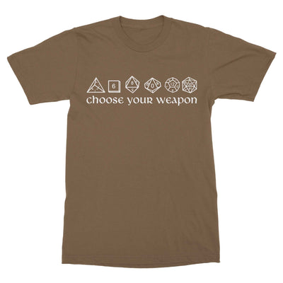 Choose Your Weapon Dice Shirt-T-Shirts-Shirtasaurus-Basic-S-Prairie Dust-Shirtasaurus