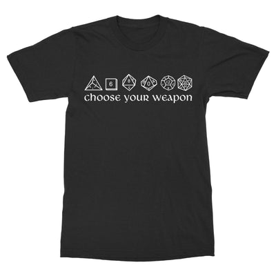 Choose Your Weapon Dice Shirt-T-Shirts-Shirtasaurus-Basic-S-Black-Shirtasaurus