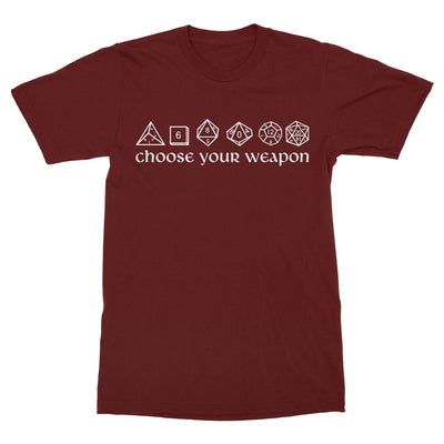 Choose Your Weapon Dice Shirt-T-Shirts-Shirtasaurus-Basic-S-Maroon-Shirtasaurus