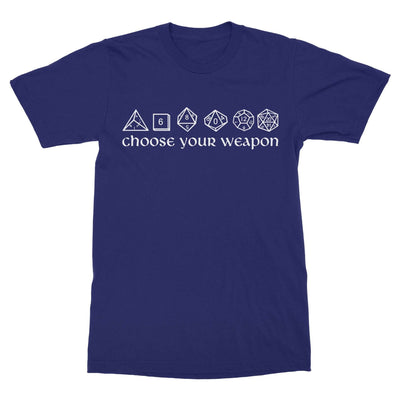 Choose Your Weapon Dice Shirt-T-Shirts-Shirtasaurus-Basic-S-Navy-Shirtasaurus