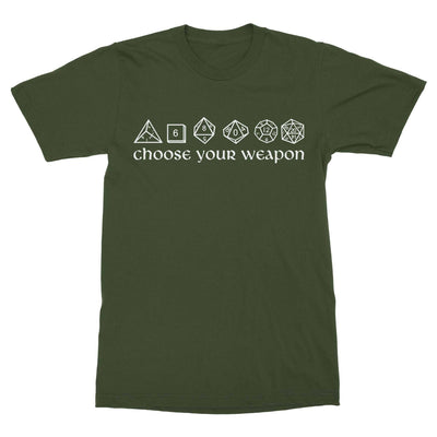 Choose Your Weapon Dice Shirt-T-Shirts-Shirtasaurus-Basic-S-Military Green-Shirtasaurus