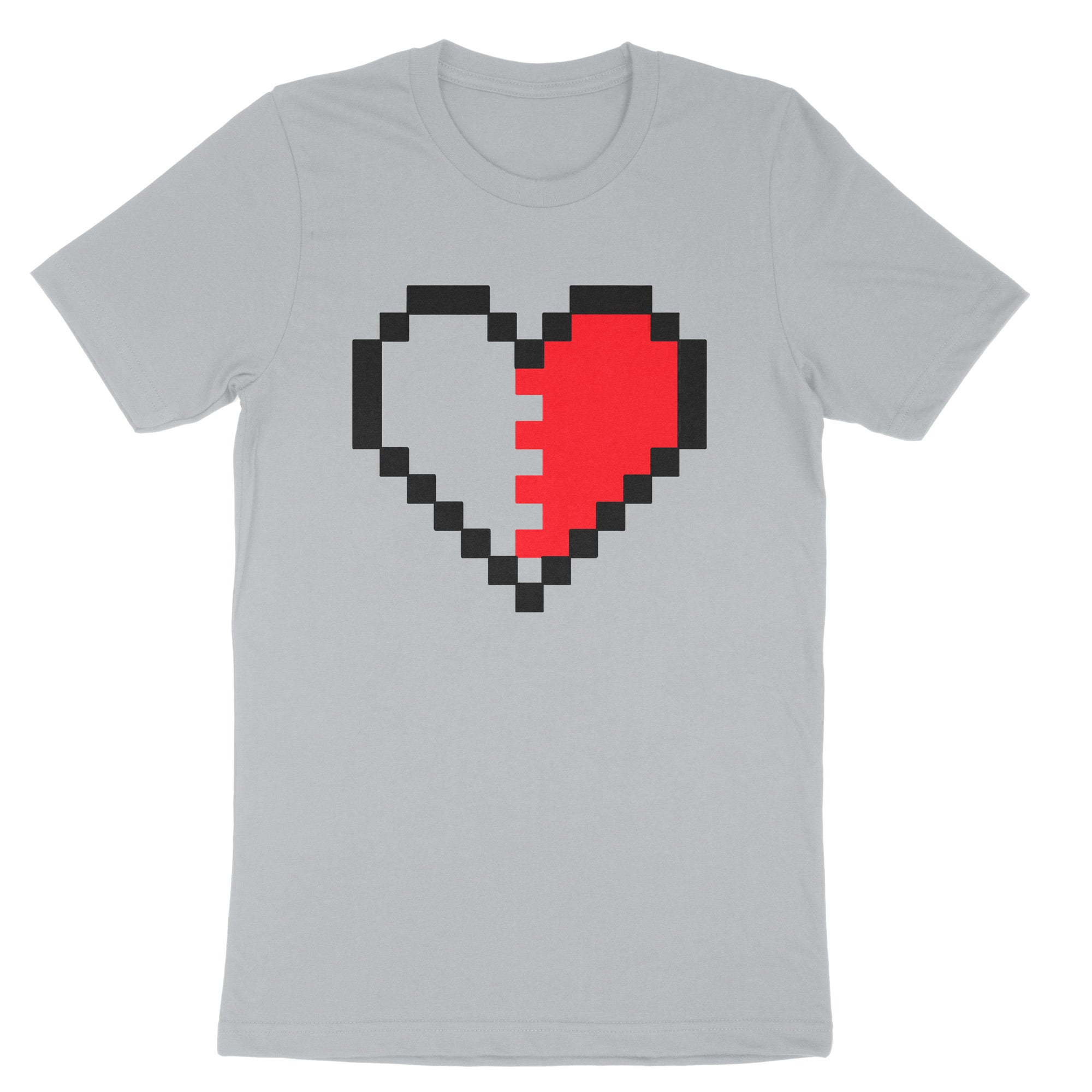 Pixel Heart Couples Shirt-T-Shirts-Shirtasaurus-Premium-XS-Silver Right Heart-Shirtasaurus