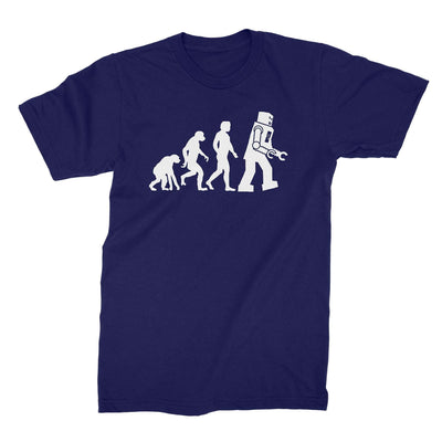 Robot Evolution Shirt-T-Shirts-Shirtasaurus-Basic-S-Navy-Shirtasaurus