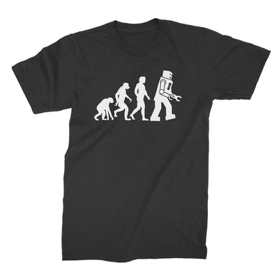 Robot Evolution Shirt-T-Shirts-Shirtasaurus-Basic-S-Black-Shirtasaurus