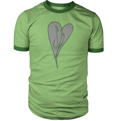 Scott Pilgrim Heart Ringer Shirt-Ringers-Shirtasaurus-S-Heather Green-Shirtasaurus