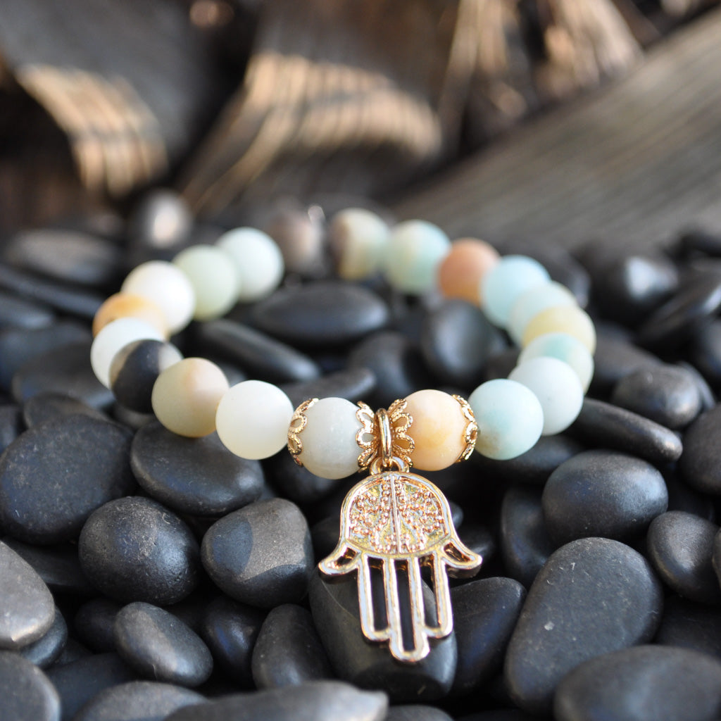 amazonite beaded stretchy bracelet with rose gold hamsa hand charm