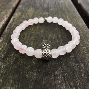 Rose quartz beaded pineapple bracelet. Summer bracelet. Tropical pineapple beaded bracelet.