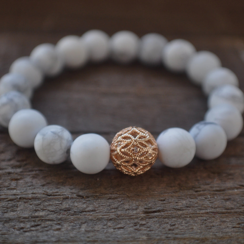 Matte white howlite beaded bracelet. My princess beaded bracelet.