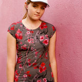 Cherry Blossom Rose Seamless Cap Sleeve Tee: Charcoal