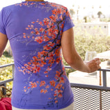Cherry Blossom Ladies V Neck Tee: Salmon Print