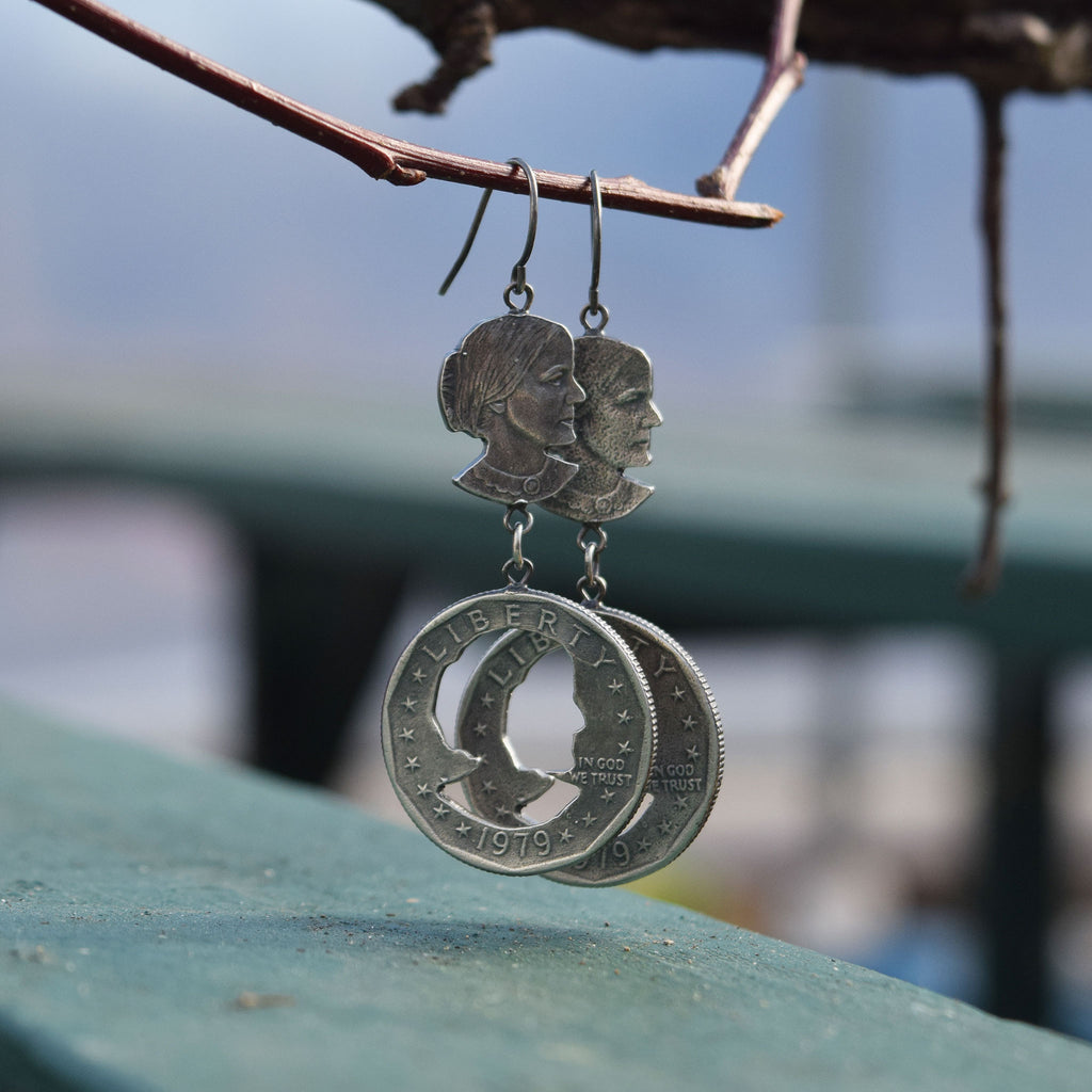 Susan B. Anthony Dangly Earrings